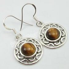 925 Solid Sterling Silver TIGER'S EYE Earrings 1.3 Inch ! Factory Direct