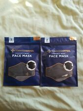 New! Tommie Copper Face Mask Unisex 4 Pk Copper & Zinc Infused. 2 packages.BLACK