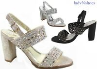 NEW Women's Chunky Heel Glitter Buckle Ankle Strap Sandal Shoes Size  5 - 10
