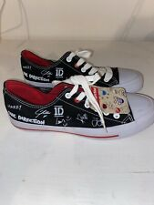Official One Direction 1D Gray Canvas Shoes Sneakers Autograph Womens Size 7 New
