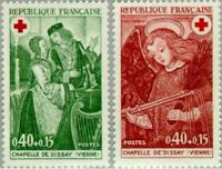 EBS France 1970 Red Cross: Chapel de Dissay - Angel with Whips YT1661-1662 MNH**