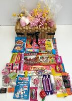 RETRO SWEET WICKER EFFECT HAMPER CANDY  GIFT BIRTHDAY PRESENT HARIBO