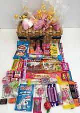 RETRO SWEET HAMPER WICKER EFFECT CANDY GIFT BIRTHDAY PRESENT GIRLS OR BOYS