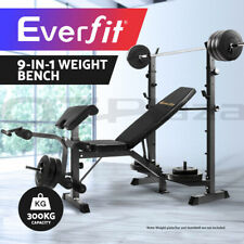 Everfit Multi-Station Weight Bench Press Fitness Incline Black Gym Equipment