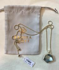 Kendra Scott Vanessa Gold Tone Long Pendant Necklace Steel Gray Ombre
