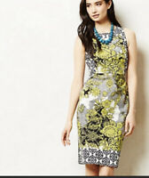 Weston Wear Anthropologie Floral Dress Sz 4 Black Yellow