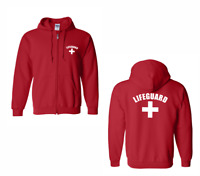 New Lifeguard Zip Sweatshirt Unisex Beach Safety Pool Staff Pullover