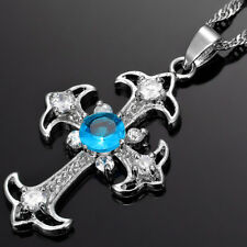 Riva Jewelry Cross Cut Blue Topaz Aquamarine 18K Gold Plated Pendant Necklace