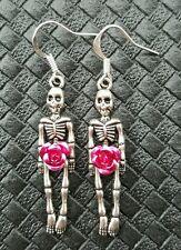 SKELETON & ROSE EARRINGS ROCKABILLY PUNK GOTHIC HALLOWEEN ZOMBIE WALKING DEAD