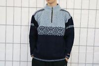 Vintage Norwool Herren Strickpullover Sweater Gr. M - L Marineblau Hellblau DZ3