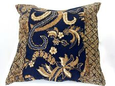 Indonesian Batik Pillow Cover Brown Black 16 In Square Throw Accent Hand Waxed