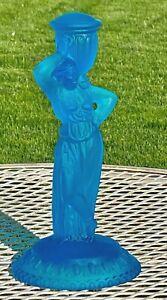 "Vintage Frosted Blue Art Glass ~ Grecian Woman ~ Water Bearer Figurine 10"" tall"