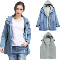 Women Two-piece Jacket Spring Autumn Hooded Jean Swish Pockets Bomber Coat