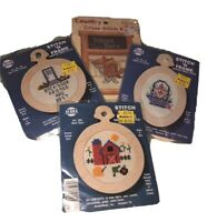 NWT ViNtAgE STITCH 'N FRAME Counted Cross Stitch ORNAMENT (4) KITS LOT