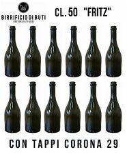 """12 BOTTIGLIE in VETRO cl. 50 """"Fritz"""" con Tappi Corona 29 vuote per Birra, Vino"""
