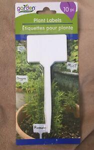 Plant Garden Labels White Plastic- Set 10