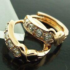 FS195 GENUINE 18CT ROSE G/F GOLD DIAMOND SIMULATED HUGGIE STUD HOOP EARRINGS