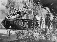 British M4 Sherman Tank in Action Photo WWII WW2 Great Britain UK