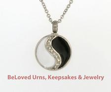 Black & White Yin Yang With CZs Cremation Jewelry Keepsake Urn Pendant Necklace