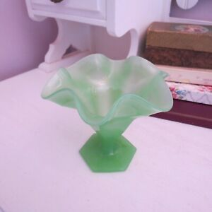 Frosted green Depression glass fluted edge vase