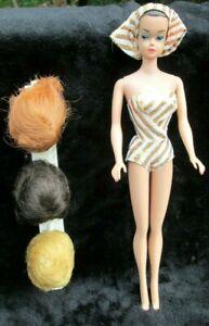"1963 ""FASHION QUEEN"" *BARBIE*~ A++FACE+HAIR w/BAND~LAME OSS+BANDANA~3 WIGS+STAND"