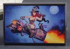 Sexy Rocket Witch Pinup Girl - Fridge / Locker Magnet. Halloween GGA