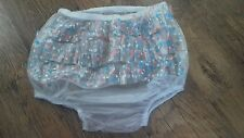Adult baby waterproof soft clear  vinyl  pants/nappy covers with dot butt frills