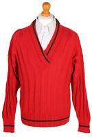 Vintage von Daniels Designer V Neck Jumper Pure New Wool Winter L Red - IL1509