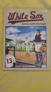 SIGNED LUIS APARICIO MLB AUTH 9/30/90 FINAL BASEBALL GAME PROGRAM COMISKEY PARK