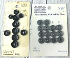 Vtg Sewing Button Lot of 2 Cards Sears Plastic Black Gray Craft USA Japan