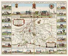 Carte antique van Loon ATLAS 1641 lépreux zone châteaux réplique Poster Print pam1276