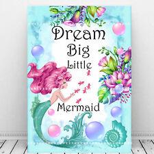 Mermaid Nursery Wall Art, Quote Dream Big Little Mermaid, Girls - Baby Gift