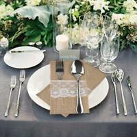 10 - 100pcs Hessian Burlap Cutlery Holder Lace Rustic Wedding Party Table Decor