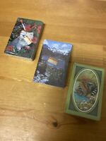 LoT Of 3 Vintage Decks Playing Cards Trump | Made In USA Cats Mountain Landscape
