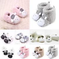 Newborn Baby Toddler Boys Girls Cartoon Anti-Slip Boots Warm Slippers Crib Shoes