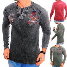 Herren Langarmshirt Sweatshirt T-Shirt Henley V-Kragen 2in1 Pulli Vintage Wash