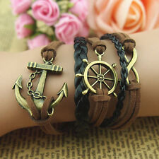Hot Wheel Leather Bracelet Infinity,Anchor, Pirates Fashion