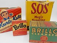 4 Vintage Household Cleaning Products Brill SOS Kurly Kate Dish Detergent Soap