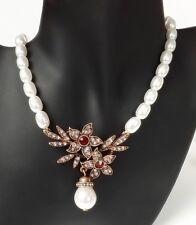 Perlen Kette Collier Halskette Blüten Vintage Strass weiß rot klar antik gold