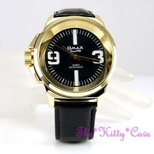 OMAX Waterproof Designer Style Gold Pl Steel Deep Seiko Movt Leather Chunky H005