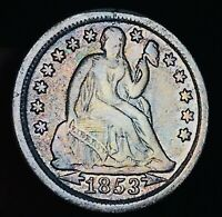 1853 Seated Liberty Dime 10c Arrows High Grade Details 90% Silver US Coin CC5560