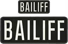 BAILIFF EMBROIDERY PATCH 4X10 AND 2X5 HOOK ON BACK BLACK/WHITE