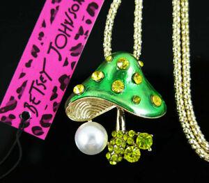 Betsey Johnson Lovely Mushroom Pendants charm Sweater chain necklace