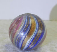 #12596m Larger .75 Inches Vintage German Handmade Onionskin Lutz Marble