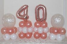 40th Birthday -Rose Gold -4 Pack Party Set -Table Balloon Decoration Display Kit