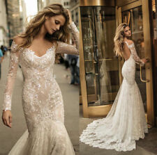 New Long Sleeves Backless Mermaid Lace Wedding Dresses Bridal Gown Custom Size