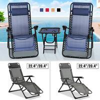 3PC/1PC Zero Gravity Beach Recliner Chair Folding Adjustable Patio Garden Lounge