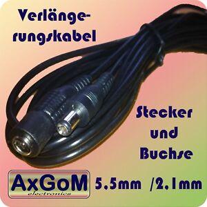 DC Verlängerungskabel - Hohlstecker Hohlbuchse 5,5 mm / 2,1 mm + 1m 1,5m 3m 5m