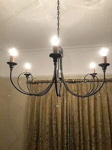 Black Stunning Wrought Iron Gothic Style 6 Branch Chandelier