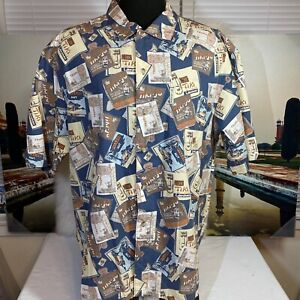 Columbia Tiki Square Print Allover Short Sleeve Camp Shirt Men's Size XL